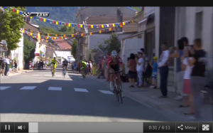 Gallopin on the attack 2km to go Stage11 TdF 2014